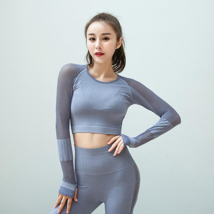 a7b51bb5fe0 2018 Women Gym White Yoga Crop Tops Yoga Shirts Long Sleeve Workout Tops  Fitness Running Sport T Shirts Training Yoga Sportswear-in Yoga Shirts from  Sports ...