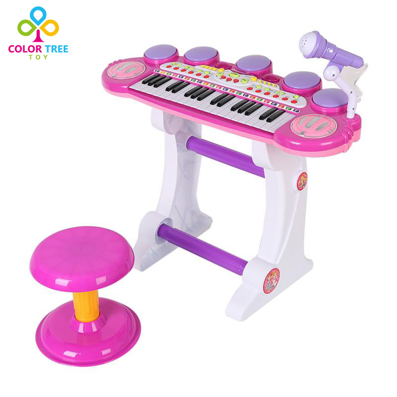 Children Electronic Piano Keyboard Music Toy with Microphone & Drum Educational Toy kawo kids beats flash light toy drum set with adjustable sing along microphone