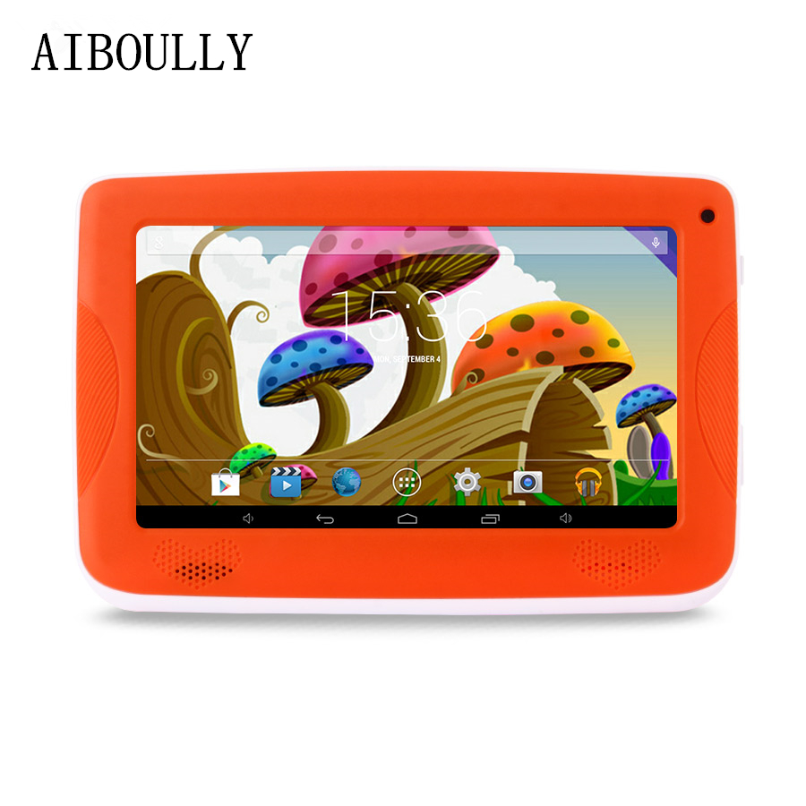 лучшая цена AIBOULLY 2018 Original Kids Tablet PC 7 inch Quad Core Android 6.0 Tablets 4.4 1GB RAM 8GB ROM 3000 mAh with Cute Rubber Case 8'