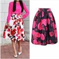 2016 Nueva Moda Vintage Una Línea de falda Retra de Las Mujeres Una Línea de Paraguas de Impresión de oficina faldas saia Faldas Abullonadas Flor Grande