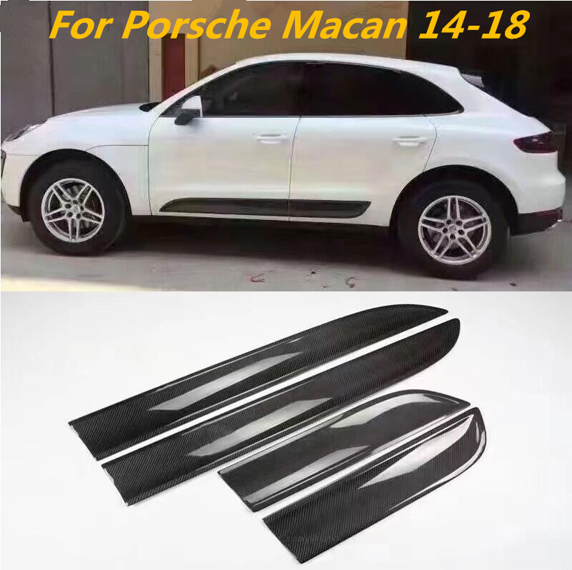 JIOYNG 4PCS Carbon Fibre CAR SIDE DOOR BODY PROTECTOR Molding COVER TRIM FOR Porsche MACAN 2014 2015 2016 2017 2018 by EMS