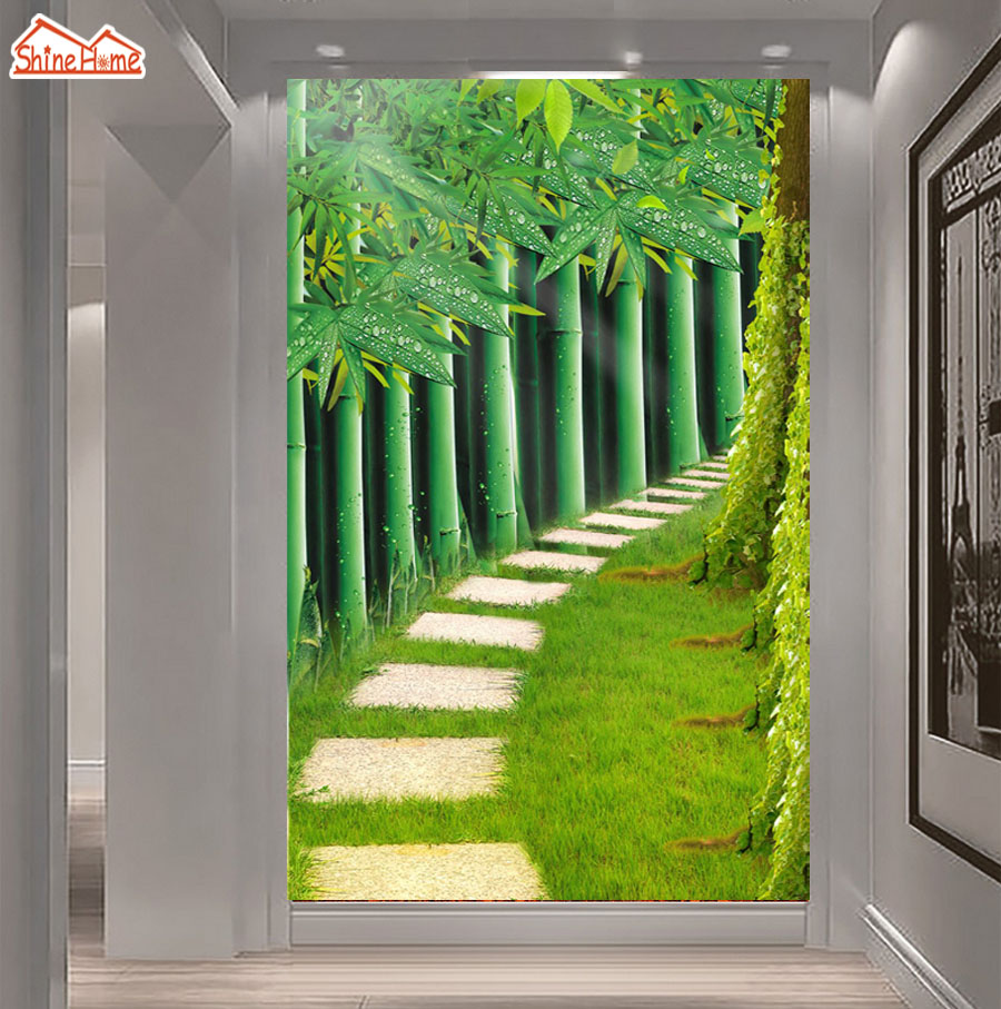 ShineHome-Bamboo Forest Road 3d Wallpaper for Walls 3 d Wallpapers for Living Room 3 d Mural Roll Ceiling TV Background Decor diiwii bag new men casual small genuine leather shoulder bags leather messenger crossbody travel bag handbag
