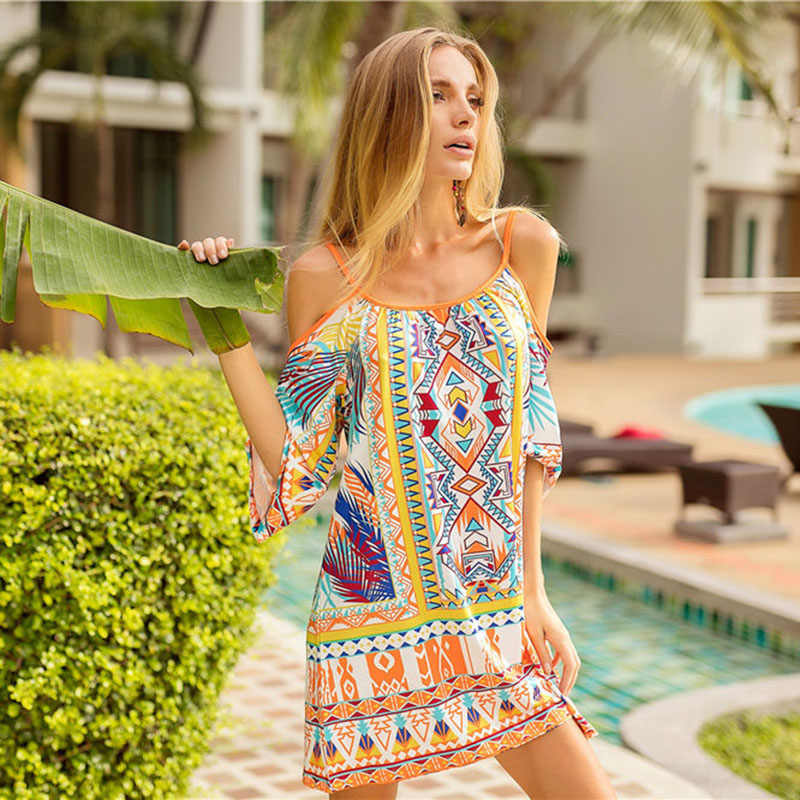 11fbe7bc9b ... Summer Casual Women Dress Vestidos Harajuku Straight Vetement Femme Print  Beach Dress Slash Neck Bohemian Vintage ...