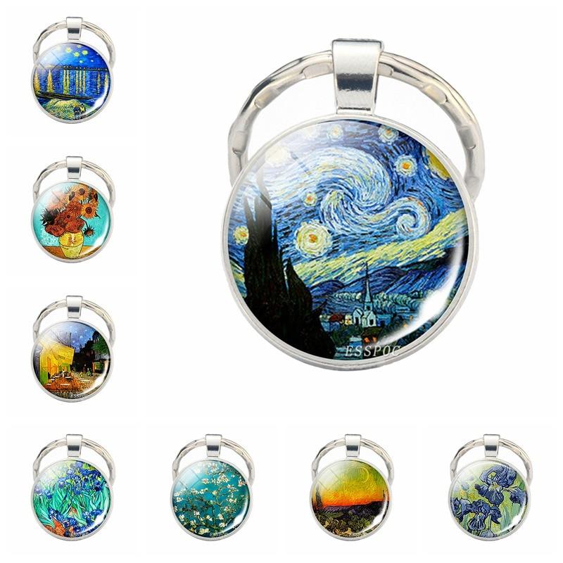Handmade Glass Cabochon Van Gogh Starry Night Pendant Keychain Art Picture Key Rings Chains Jewelry Birthday Christmas Gift