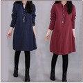 Mujer libre del envío de algodón de lino vestidos de 3 colores más tamaño suelta otoño Primavera Casual cuello Mao sólido Rodilla-Longitud vestido