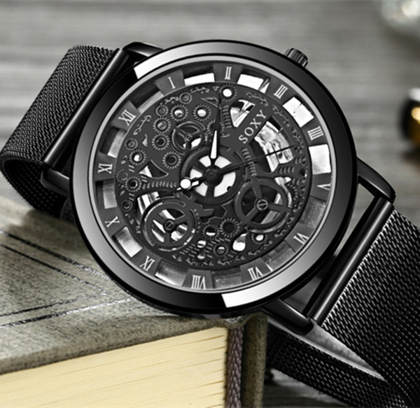 Fashion SOXY Watch Silver & Golden Luxury Hollow Steel Watches Men Women Unisex Hombre Quartz Wrist watch Clock Retro Relogio 5