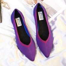4f17b9cd3 Mulheres Sapatos Baixos Sapatos Casuais Deslizamento Em Sapatas de Pano  Senhoras Alpercatas Loafer Para Senhora Apontou Toe Moda.