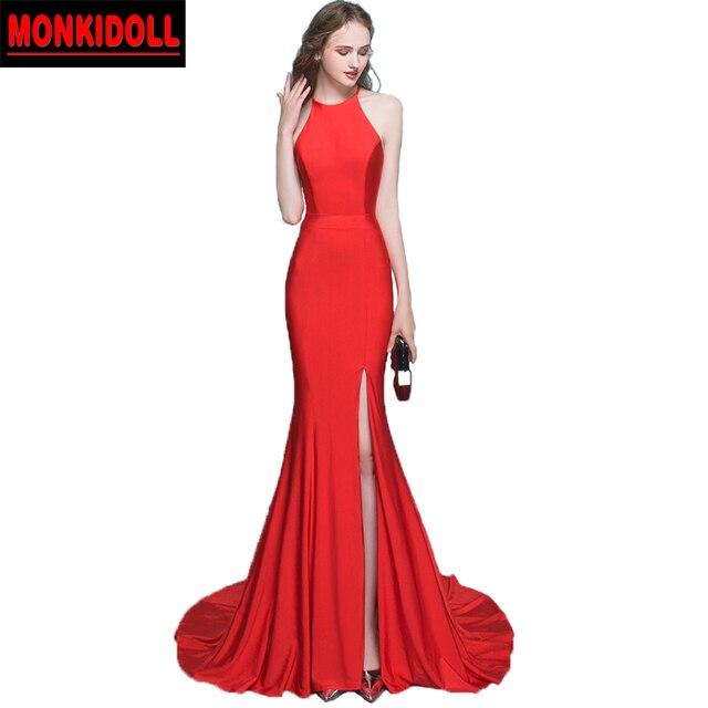 Sexy Roten Abendkleid Split Lange Meerjungfrau Abendkleider 2017 ...