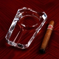 Crystal Glass Cigar Cigarette Ashtray Decorative Tobacco Ash Tray Smoking Utility Novelty Trinket Ornament Craft Accessories