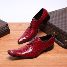 цены New arrival crocodile skin shoes mens patent leather red wedding shoes low heels lace up oxfords formal shoes men plus size