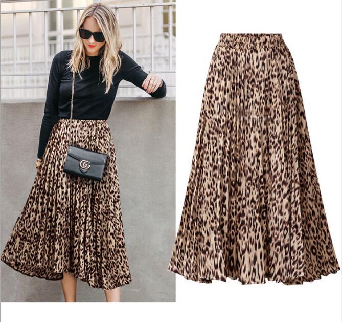 cf497cf58b Pleated Skirts Women Summer 2019 Empire Elastic Waist Skirt Ladies Long  Plus Size Leopard Print Skirts