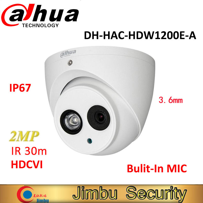Original Dahua HDCVI Camera DH HAC HDW1200E A 2MP HD1080P IR30m built in MIC IP67 CCTV
