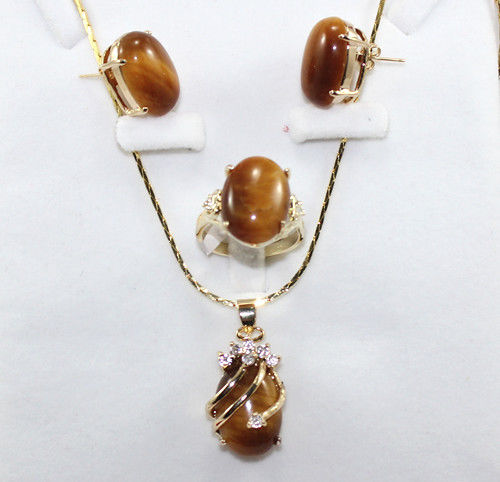 Hot sale new Style >>>>>-blue/red/pink/purple/green jade-tiger eye stone earring pendant ring set