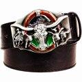 Fashion men's leather belt Western cowboy belt punk rock wild west bull head cow Leather Belt Metal Buckle hip hop belt Men Gift