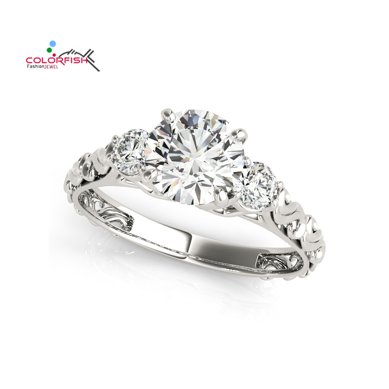 COLORFISH Antique Round Cut 1 Carat Ring Wedding 925 Sterling Silver Anillos Mujer Women Shine Three Stone Engagement Band Ring