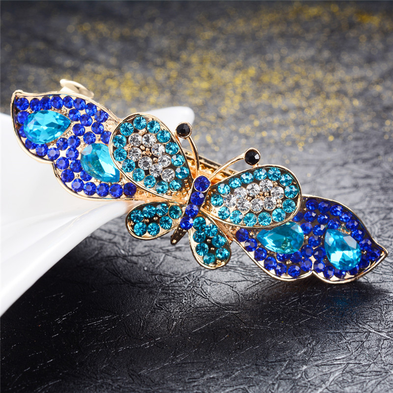 High Grad Hairpins Crystal Butterfly Barrettes Fashion Hair Jewelry Great Rhinestone Flowers Hair Clips Wedding Hair Accessories