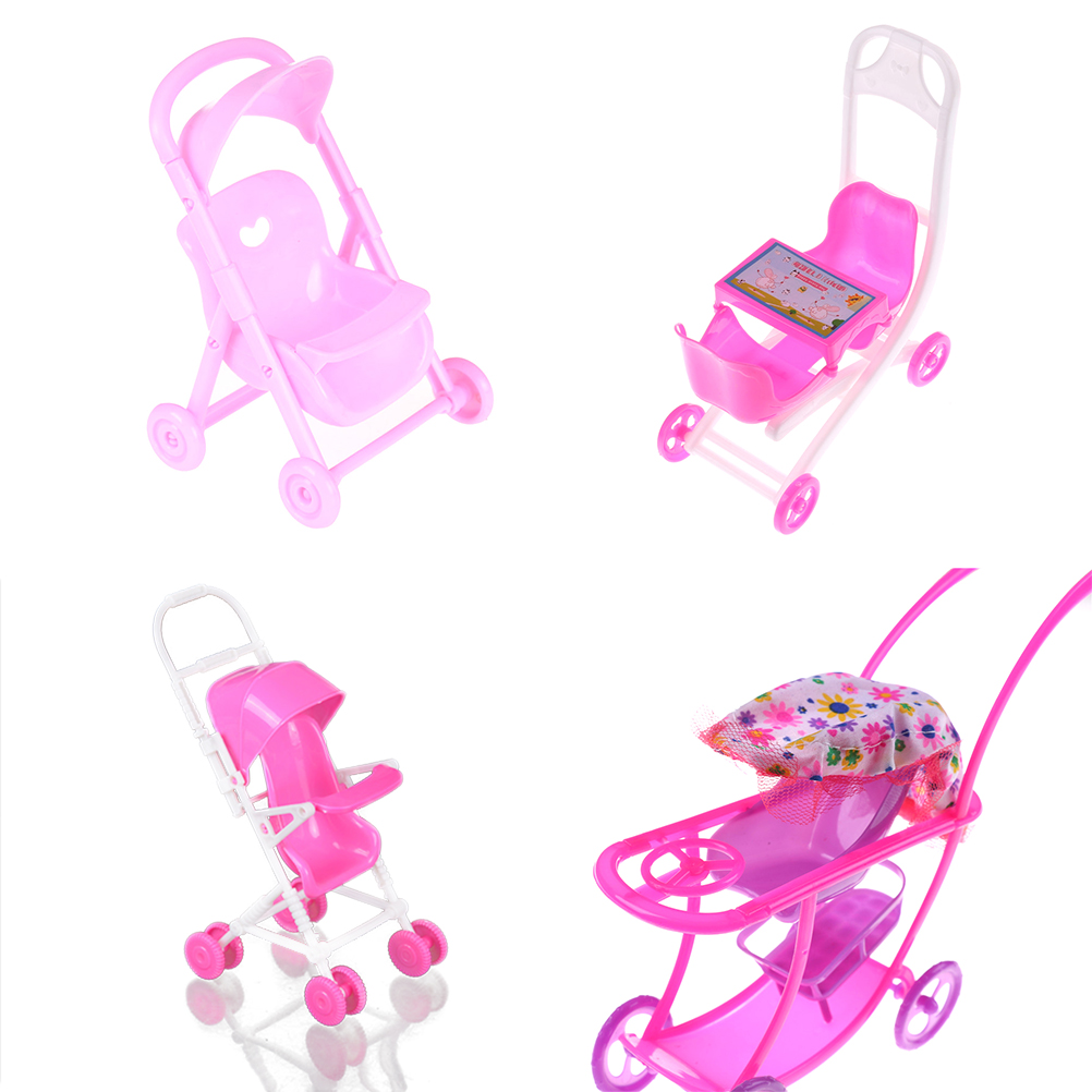 4Styles Kid Play House Nursery Furniture Stroller For Doll 1:12 Puppet Gift Plastic Trolley Accessories Toys
