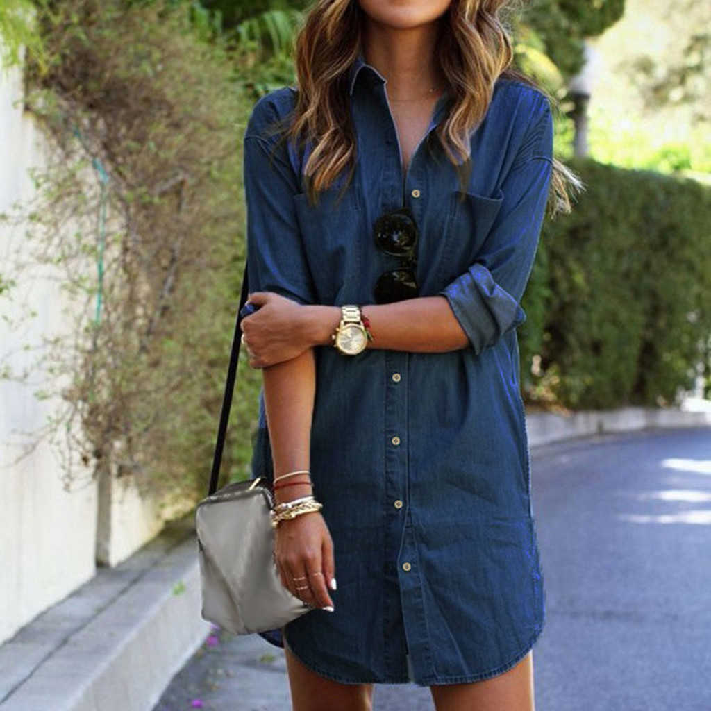 The New 2019 Women Summer Casual Denim Dresses Pockets Elegant Cowboy Fashion Women Feminino Sexy Lady Slim Shirt Dress Jeans #3