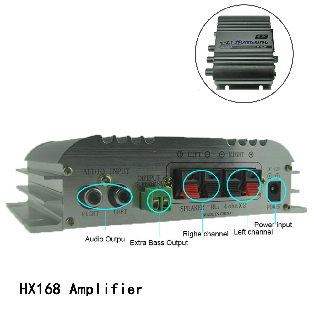new Super Bass 40WX2+60WX1 Hi-Fi 2.1 Channel Stereo Mini Computer Car Amplifier Subwoofer Out Subwoofer 12V Power