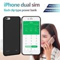 Dupla 2 sim dual standby adaptador bluetooth para iphone 6/6 s/6 p/6 s p shell telefone ultra-fina fornecimento banco de potência da bateria clipe de volta
