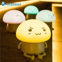 AKDSteel Cartoon Mushroom Pets LED Night Lamp Gel Atmosphere Night Lamp LED Touch Light USB Charging
