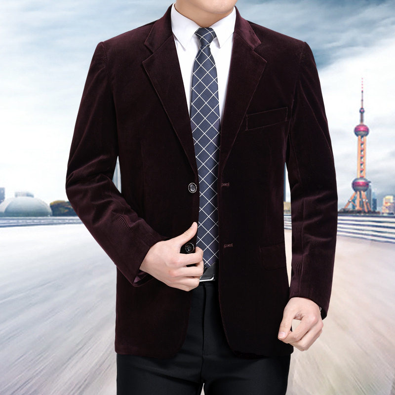 New middle aged men's business casual suit high end corduroy suit jacket spring and autumn solid color blazer coat mens blazers