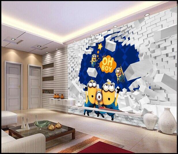 Papel personalizado de pared infantil 3 D vinilo amarillo para niños ...