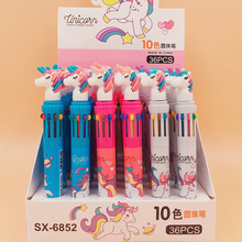 36 Pcs/lot Cute Unicorn 3/6/10 Colors Ballpoint Pen Cartoon Ball for Kids Gift Material Escolar Office School Supply