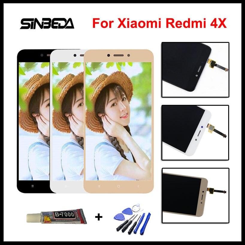 Sinbeda Nouveau 100% Test 5.0 pouce Pour Xiaomi Redmi 4X Noir Or blanc Écran lcd Écran Tactile Digitizer + Outils + Colle l'assemblée