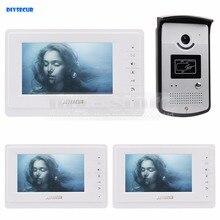 DIYSECUR 7 inch Wired Video Door Phone Video Intercom Kit 700TVL Camera RFID Unlocking Night Vision 3 Monitor
