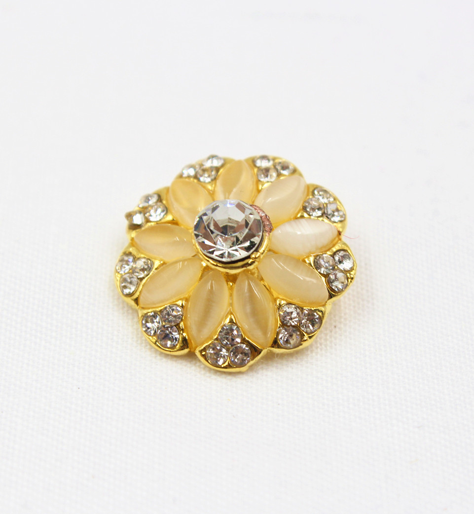 2 Crystal Rhinestone Buttons Gold FREE Postage
