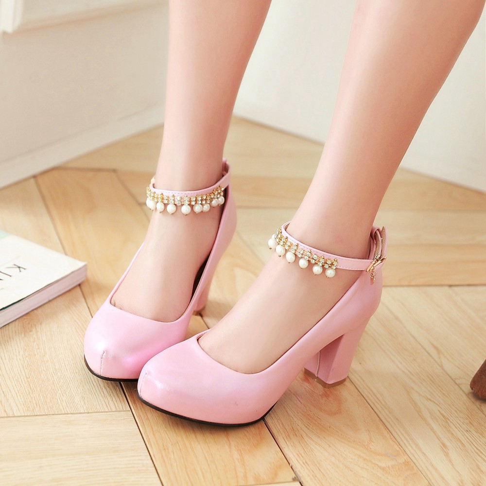 2017 Chunky High Heeled Pink Bridal Wedding Shoes Beaded White Female Buckle Elegant Pumps Silver Gold31