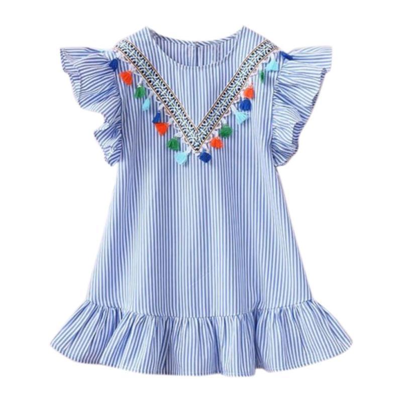 HTB1.1dCXR1D3KVjSZFyq6zuFpXan Summer Girls Tassel Flying Sleeve Dresses Stripe Cute Kids Party for girls Princess Dress Tops Clothes