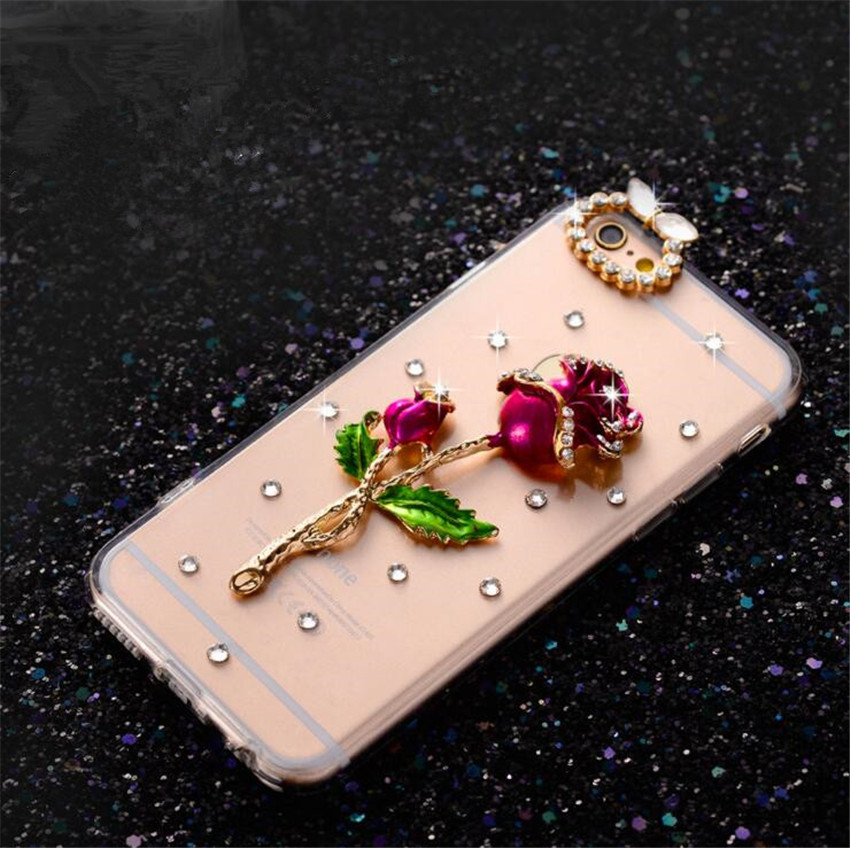 LaMaDiaa 3D Bling Crystal Diamond Bowknot Rose Peacock Beautiful Girl Phone Cases for iPhone X 5s SE 5C 6s plus 7 8 plus Cover