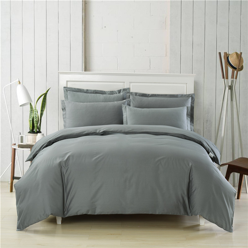 European simple style gray solid color 3/4pcs Cotton Bedding set King Queen size Bed set Duvet cover set Bedsheet Pillowcase European simple style gray solid color 3/4pcs Cotton Bedding set King Queen size Bed set Duvet cover set Bedsheet Pillowcase