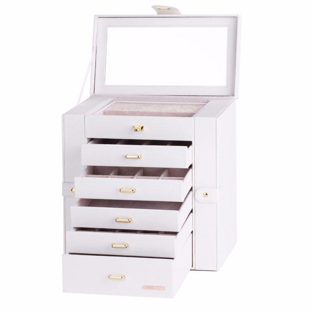 Online Shop White Large Fashion Luxury Jewelry Box 6 Layers Mirrored