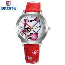 SKONE Cute Cat Watches for Girls Women Fashion Simple Quartz Watch Woman s Wristwatch Casual Style