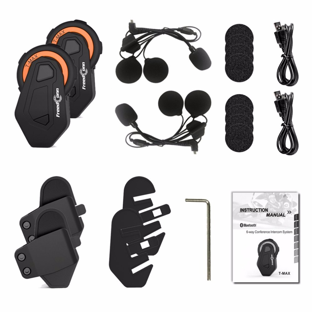 1 or 2pcs FreedConn Motorcycle Helmet Intercom Headset 1500M 6 Riders Group Talking Bluetooth Interphone with FM Radio Drop Ship bluetooth helmet intercom t rex 8 riders waterproof full duplex motorcycle group talk system 1500m bt interphone headset with fm