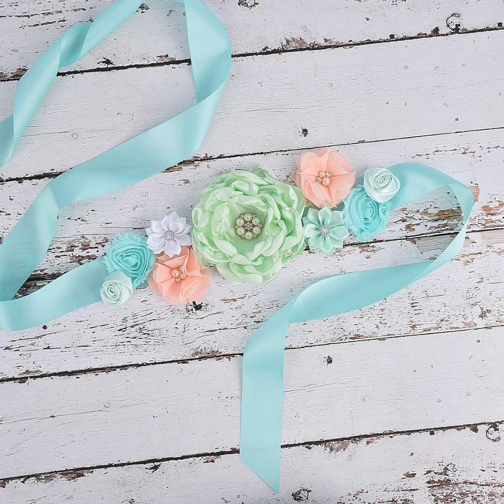 Fancy Women Flower Sash Bridal Belly Belt Baby Shower Party Maternity Sash Photo Prop Wedding Bride Flower Belt