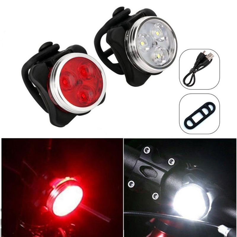 2PCS/lot Rechargeable 3 LED Bicycle Light 4 mode Bike Front Lamp Tail Flashlight With Mount Bicycle Accessories Built-in Battery
