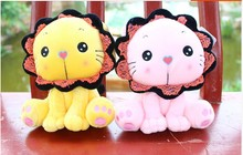 2 pieces small cute plush lion toys pink and yellow sunflower lion toy gift doll about 23cm