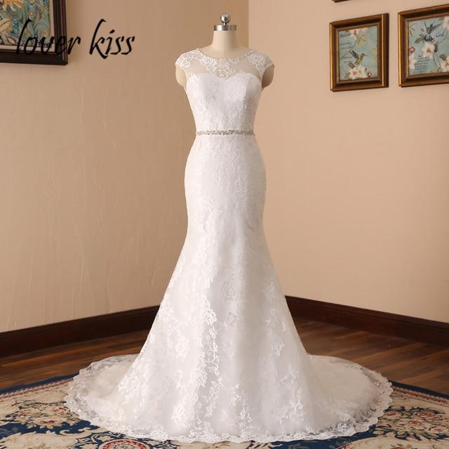 Lover Kiss Vestido De Noiva Elegant Real Photo Fl Lace Mermaid Wedding Dresses Open Back Jewelled