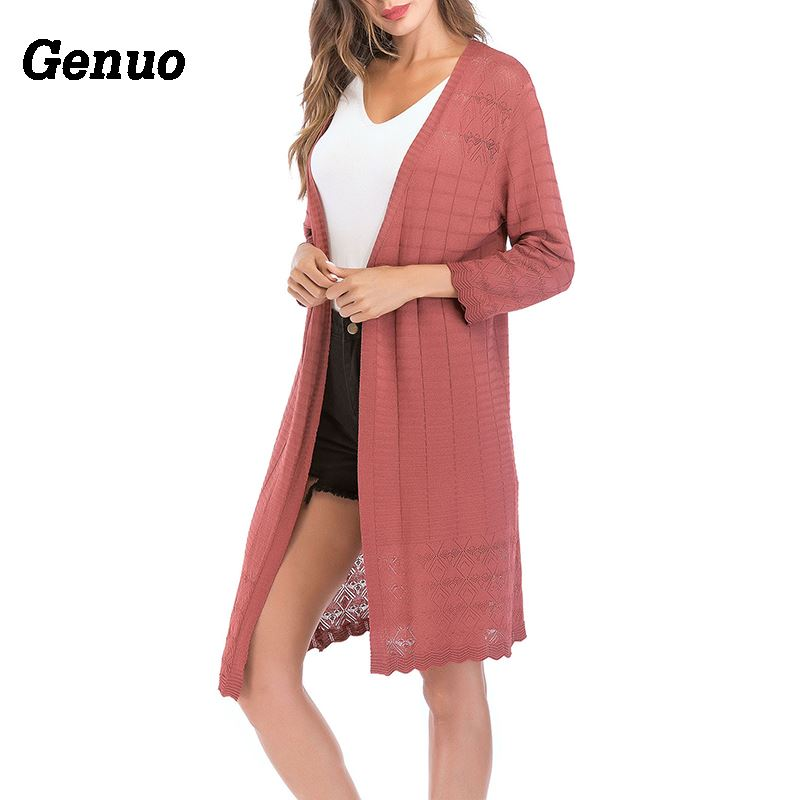 Genuo Casual Women Knitted Cardigan Long Sleeve Solid Color Sweater Cardigans Long Coat Elegant Spring Autumn Sweater Tops in Cardigans from Women 39 s Clothing