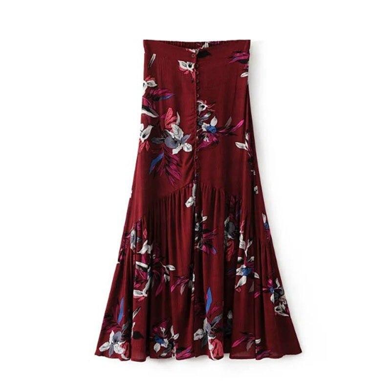 Vintage floral print long skirts women Summer elegant beach maxi skirt Boho high waist asymmetrical skirt printed skirts
