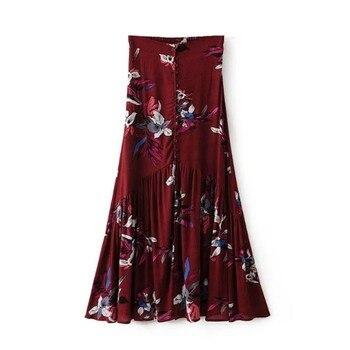 Vintage floral print long skirts women Summer elegant beach maxi skirt Boho high waist asymmetrical skirt printed skirts floral print surplice wrap asymmetrical dress