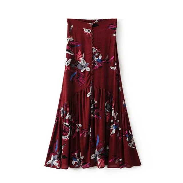 e03b8dfc63 Vintage floral print long skirts women Summer elegant beach maxi skirt Boho  high waist asymmetrical skirt printed skirts-in Skirts from Women's  Clothing on ...