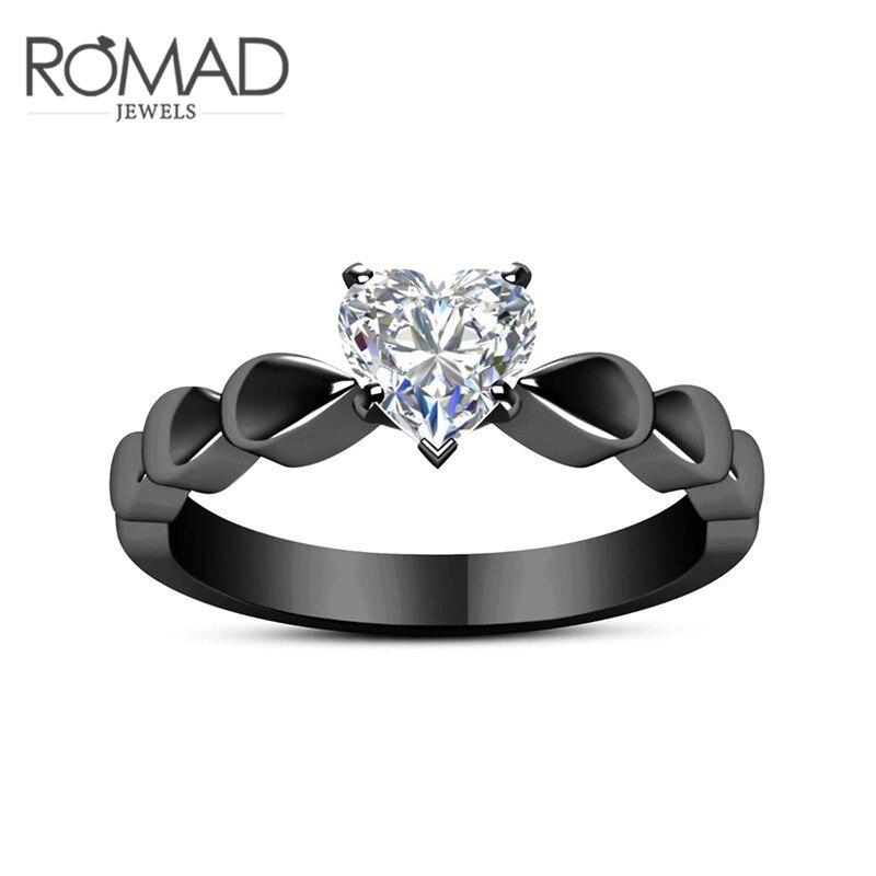 ROMAD Ясно CZ Сердце кольца черный палец кольца для Для женщин Для мужчин Обручение Свадебные Обещание Кольца простой Стиль 3 зобах ювелирные и...