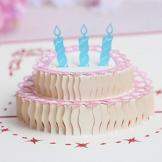 Happy Birthday Cake 3d Laser Cut Pop Up Paper Handmade Postcards
