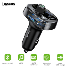 Baseus FM Aux Émetteur Modulateur Bluetooth Chargeur De Voiture Kit Mains Libres Audio MP3 Lecteur 3.4A Double USB Rapide Chargeur de Téléphone portable(China)