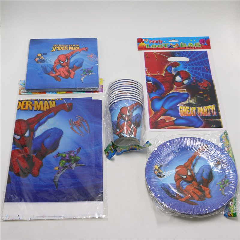 <font><b>movie</b></font> spiderman <font><b>party</b></font> 51pcs/lot kids boys birthday <font><b>party</b></font> decoration disposable paper plate <font><b>cup</b></font> tablecloth 10 people baby shower